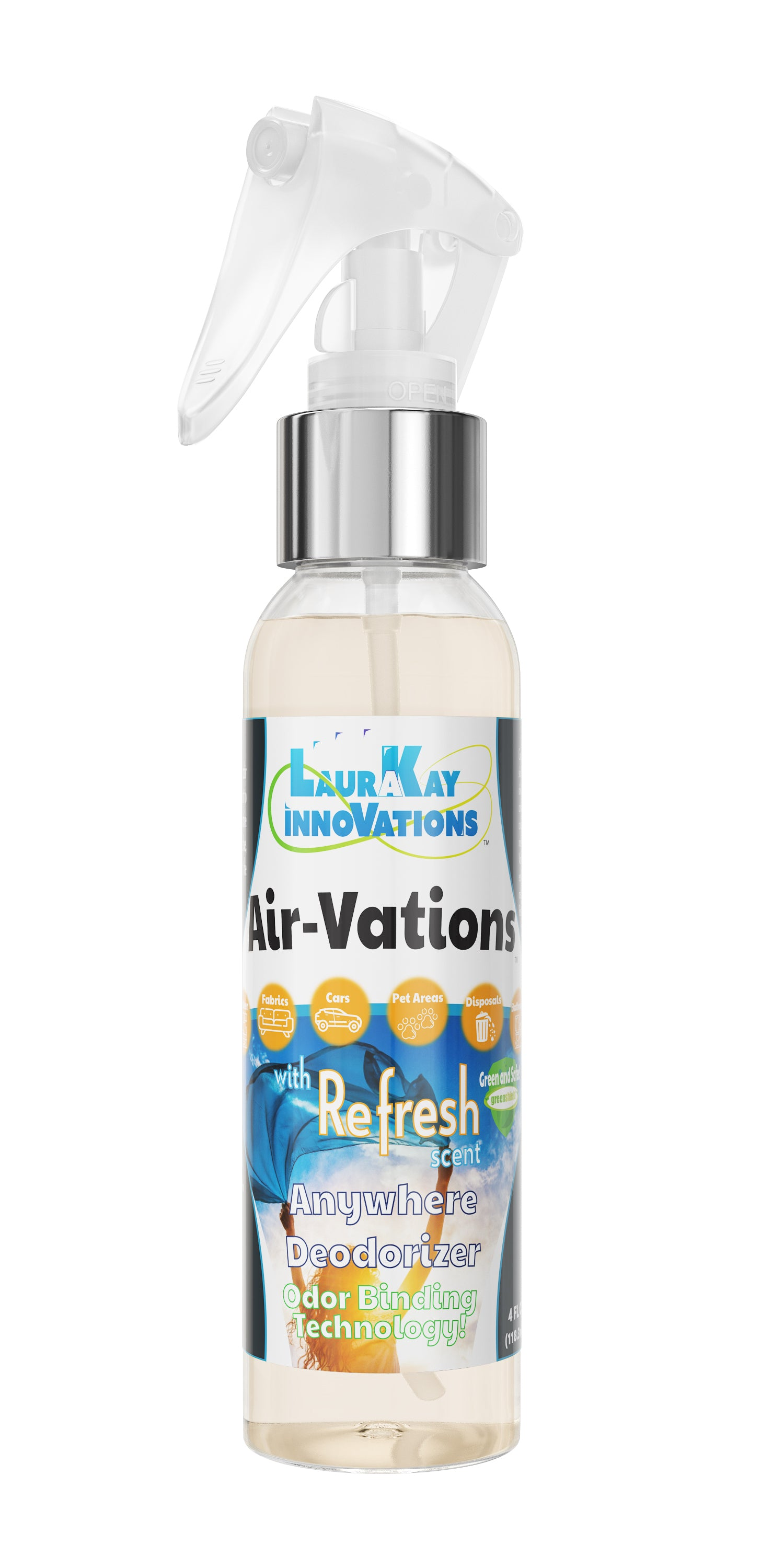 AirVations™ Refresh Deodorize and capture tough odors in fabrics, carpets and air!