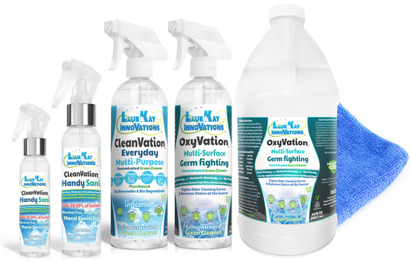 OxyVation™ 5 in 1 Germ & Virus Fighting Green Cleaning Kit w/FDA Approved HandySani™ Hand Sanitizers