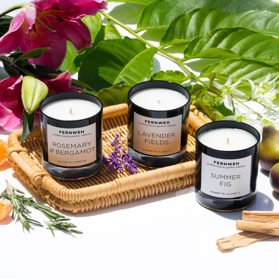 Mediterranean Garden: Sun-Drenched Wanderings 3 Candle Gift Set - Fernweh Editions