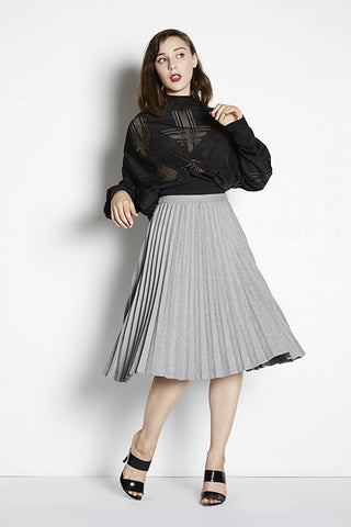 Hillary Pleat Midi Skirt
