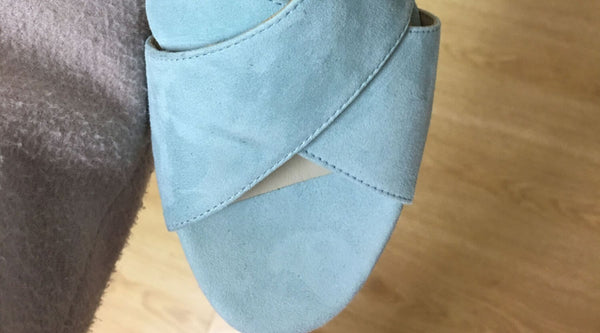 blue sandal sample for calla shoes startup business for bunions
