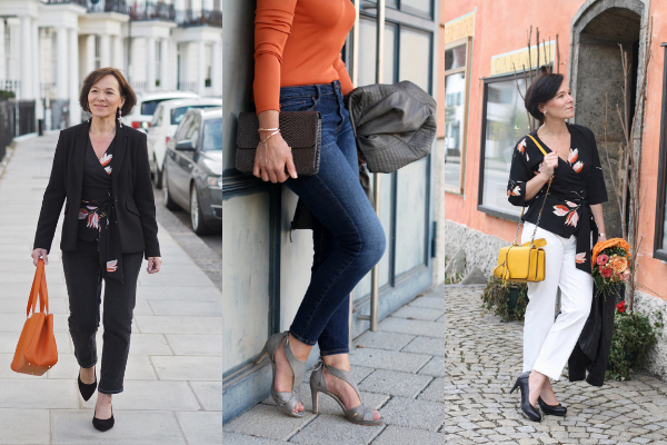international blogger styling three outfits with calla shoes