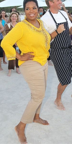 Oprah Barefoot On Beach