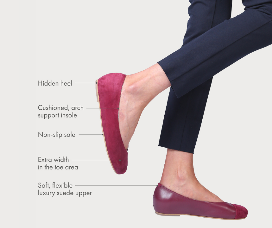 Calla flats for bunions in plum suede with the comfort features pointed out by arrows