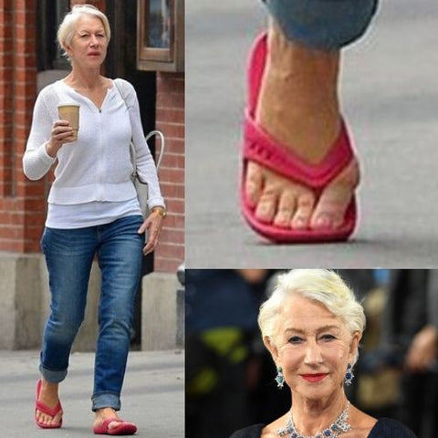 celebrities with bunions calla shoes helen mirren feet