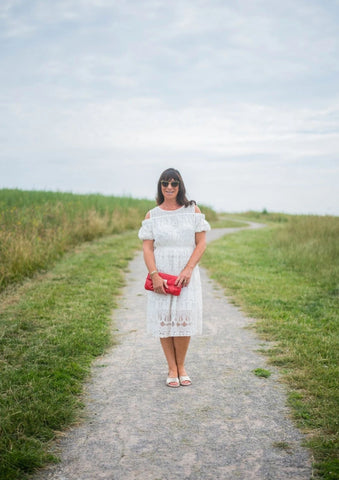 stylish shoes for bunions being styled by influencer mummabstylish with white dress