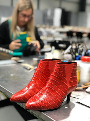 red mock croc kitten heel boots for bunions hand crafted shoes