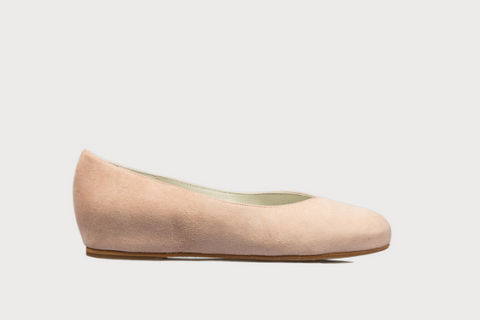 stylish flats for bunions in nude suede