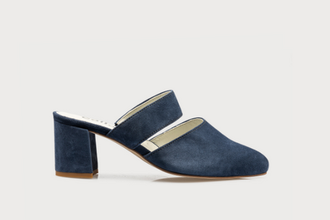 navy suede wide fit mule shoes for women with bunions and wide feet