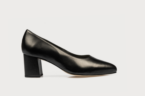black leather court occasion shoes for bunions and wide feet