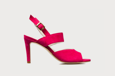 fuchsia suede high heel sandals for women with bunions