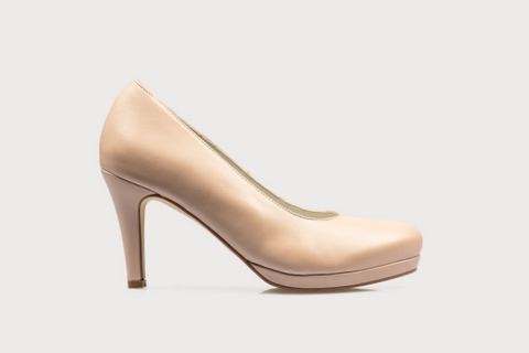 nude leather comfortable wide fit high heels for bunions