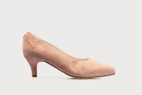 pink suede wide fit kitten heel court shoes for women with bunions