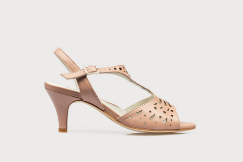 Pink leather mid heel sandals for women with bunions in wide fit