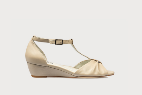 beige leather wedge sandals for women with bunions in wide fit