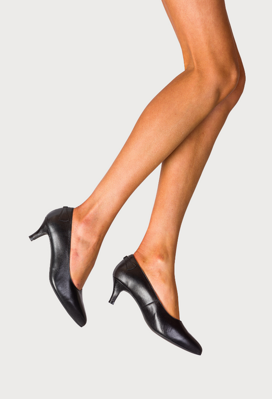stylish black leather heeled shoes for bunions