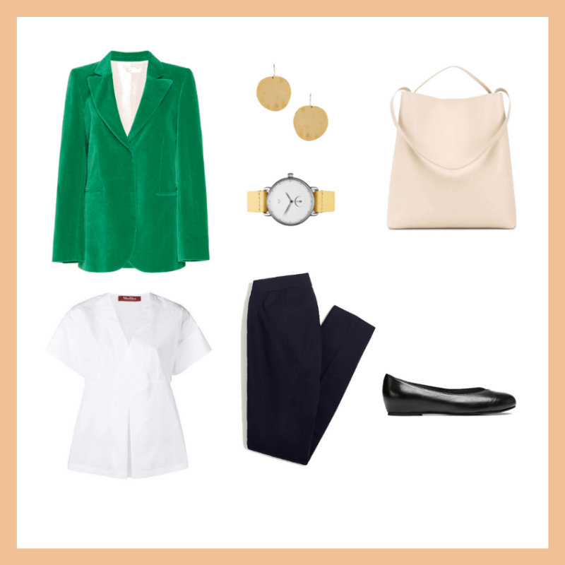 Stylish work office outfits with bunion and hallux valgus friendly shoes