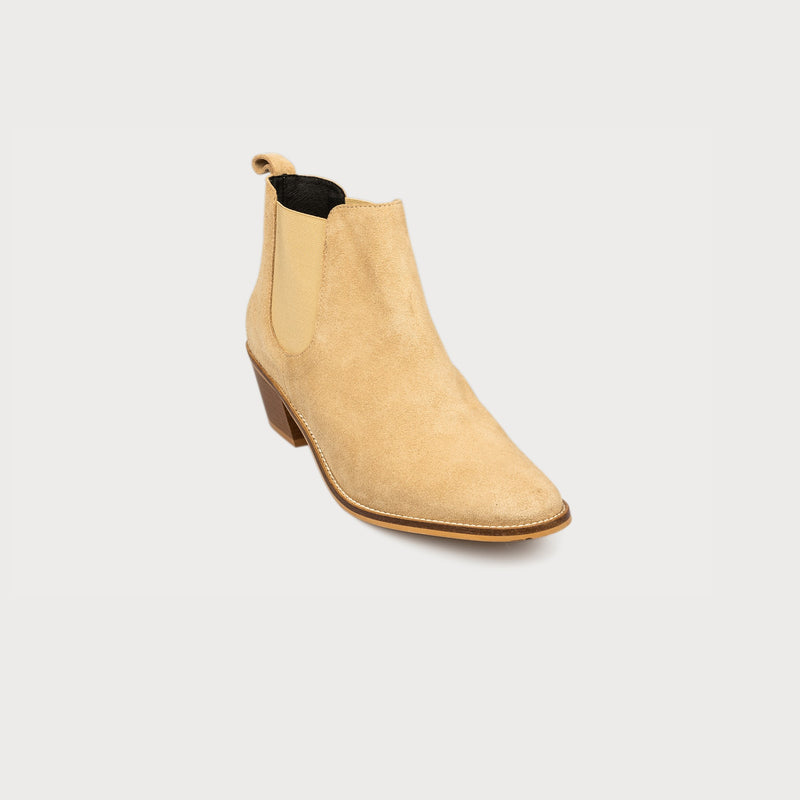 cappuccino suede ankle boots front view