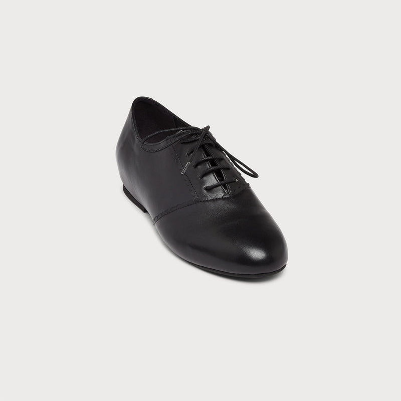 black leather flat brogue front view