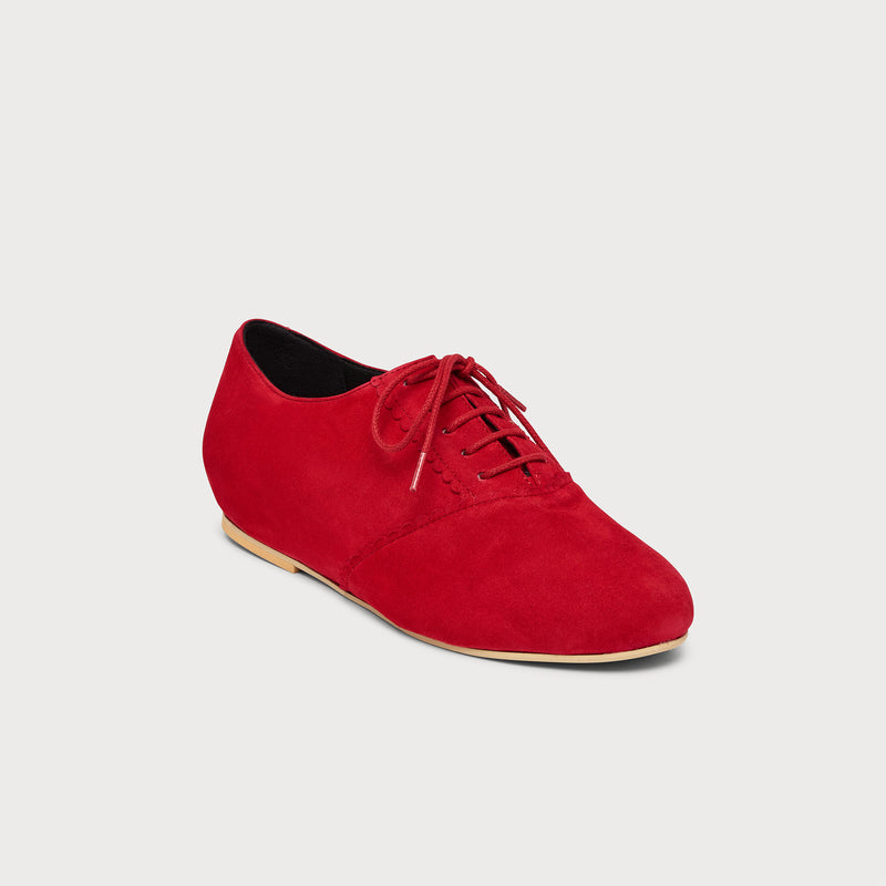 red suede flat brogue front view