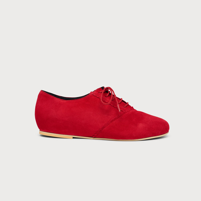 red suede flat brogue side view