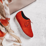 aster red brogue suede shoe