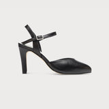 black leather sandal heel bunions wide feet comfort stylish