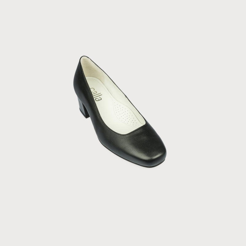 bunions black heel court shoe block heel wide feet comfortable