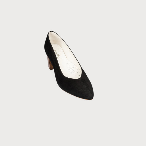 comfortable stylish black suede court shoe bunions