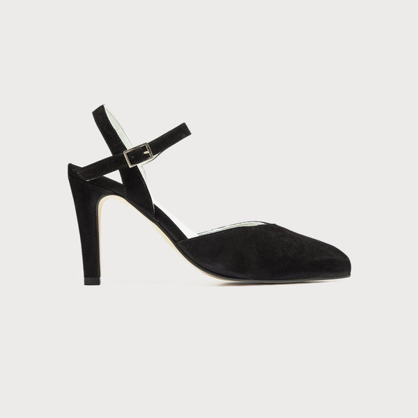 selena black suede heeled sandals for bunions wide feet