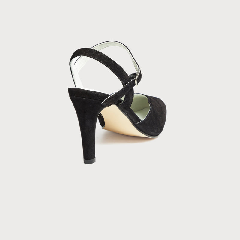 selena black suede heeled sandal court shoes bunions
