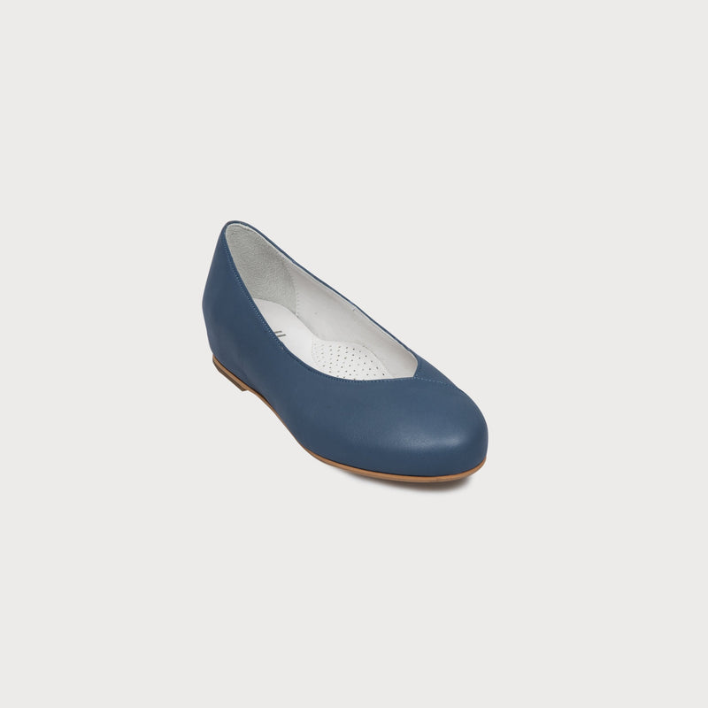 blue leather flat shoes bunions wide feet comfort style