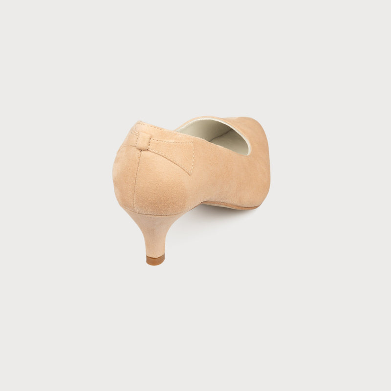 blush suede kitten heel shoes with a bow on the back made for women with bunions back view