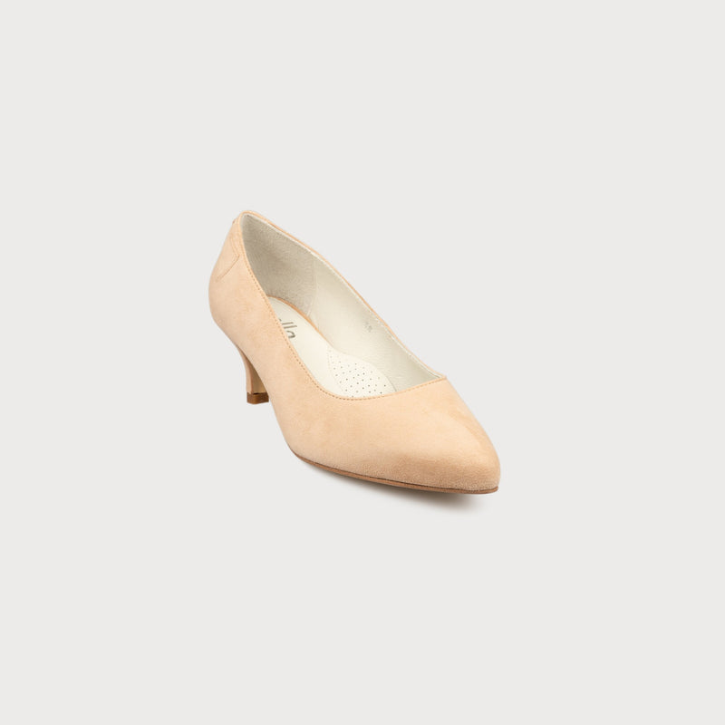 blush suede kitten heel court shoes for women with bunions front view