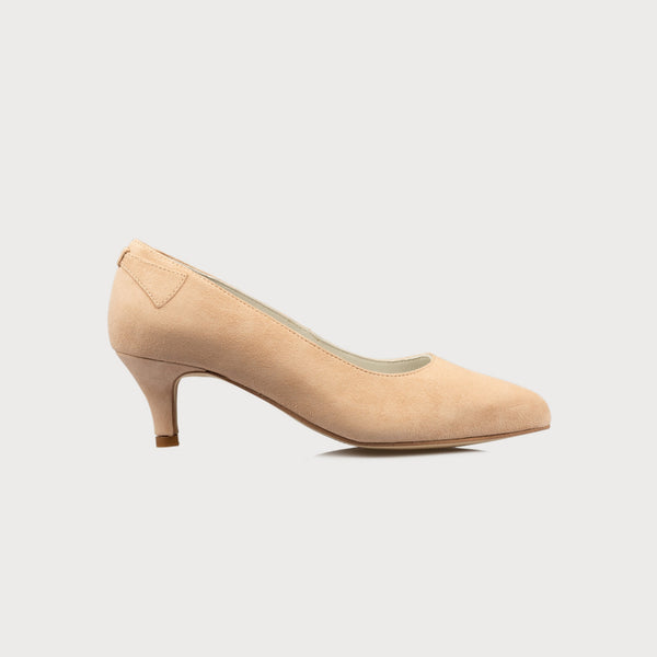 blush suede kitten heel court shoes for women with bunions side view