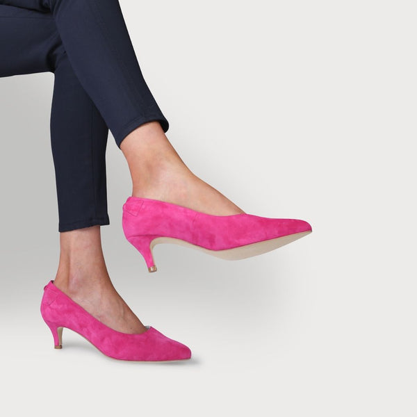 calla ava fuchsia comfortable kitten heel shoes for women with bunions as worn by a model