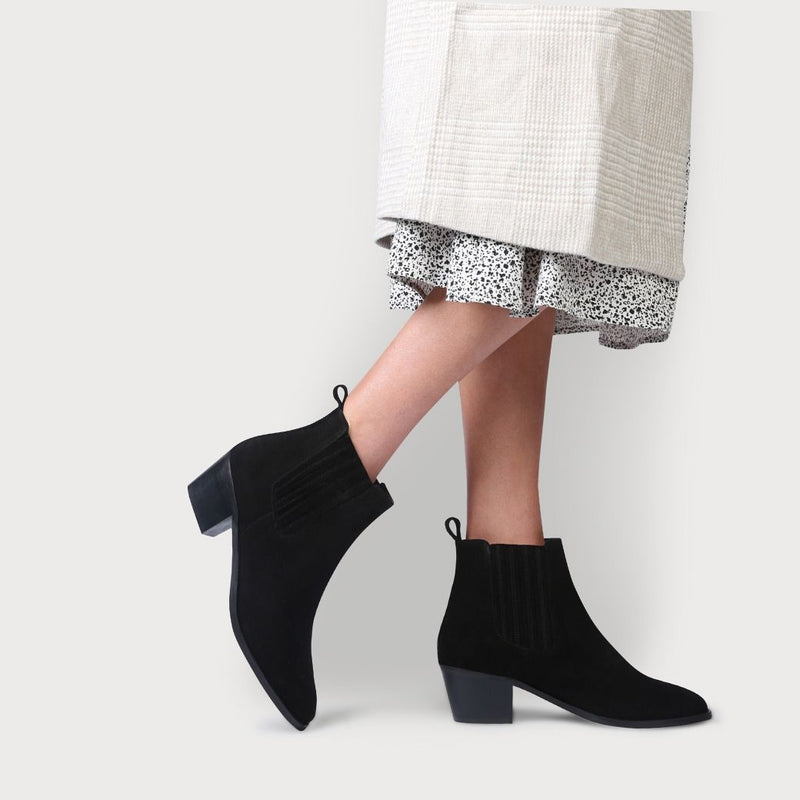 calla chelsea black suede boots for women with bunions as worn by a model