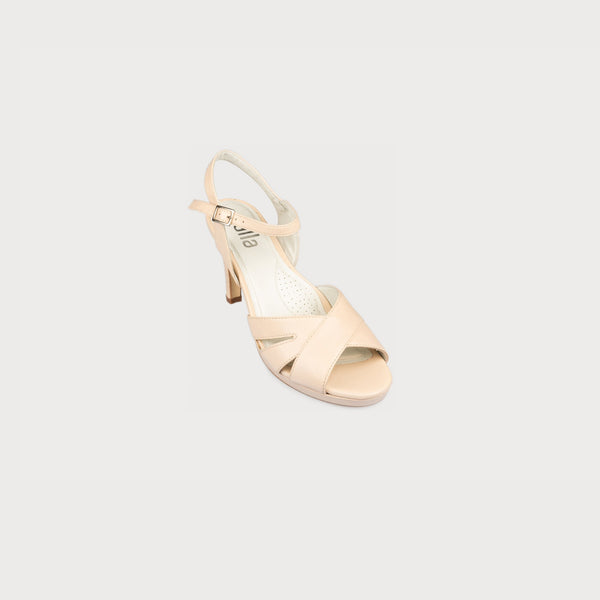 calla emily nude leather high heel sandal for bunions