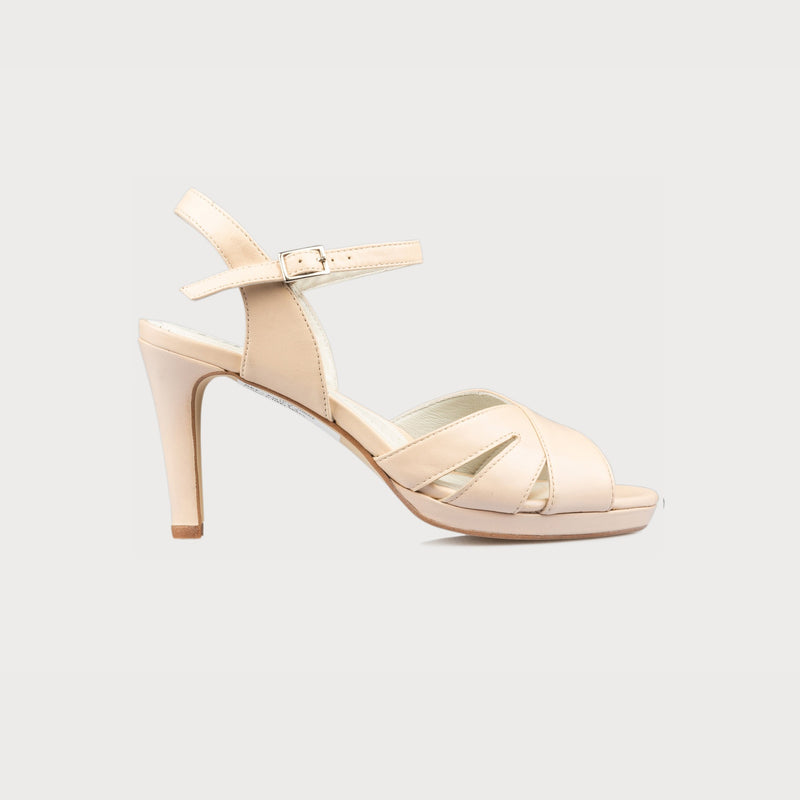 calla emily nude pink high heel sandal for bunions side view