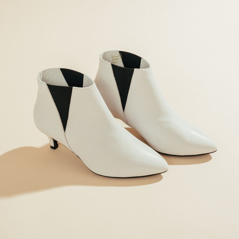 white leather boots front view