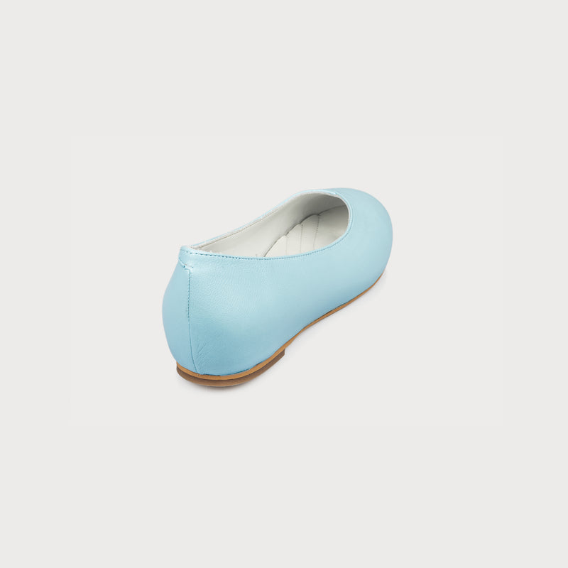 aqua blue flat shoe back view
