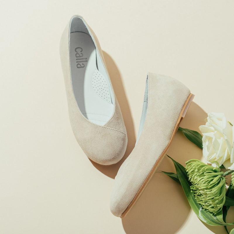 beige suede flats for bunions