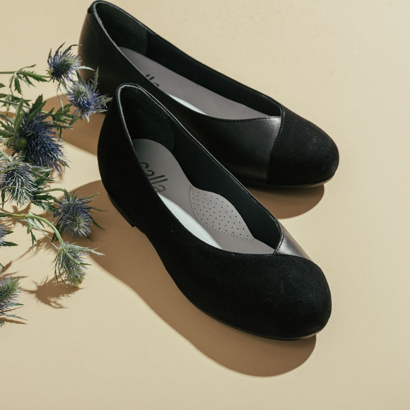 black suede leather mix flats for bunions