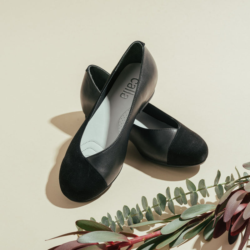 black leather and suede flats for bunions
