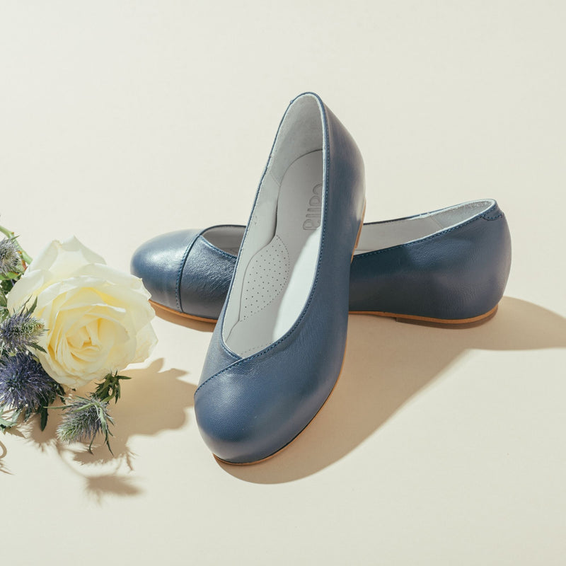blue leather flats for bunions