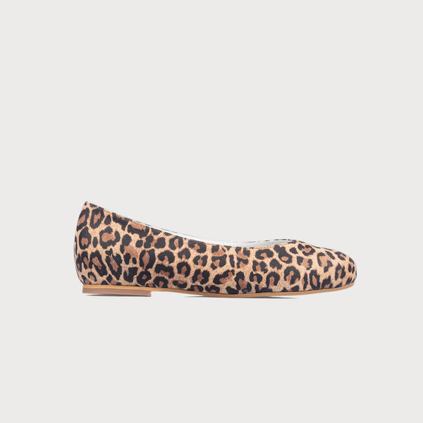 leopard suede flat shoe side view