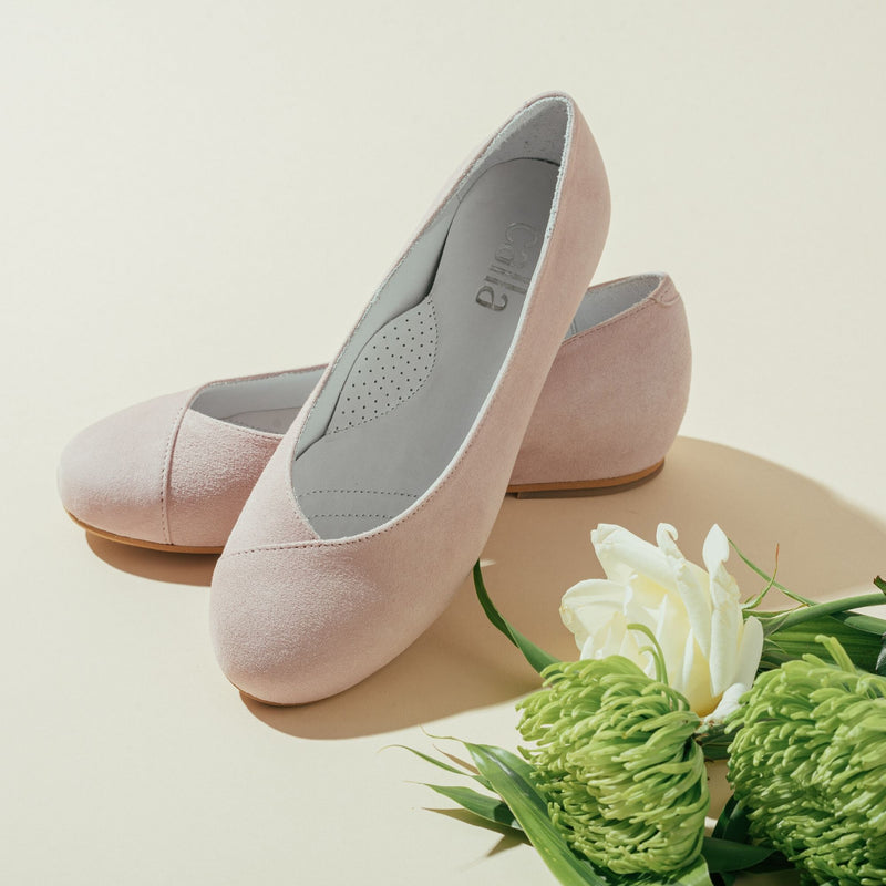 pink suede flats for bunions