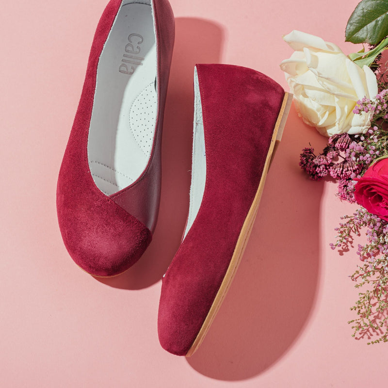 plum leather suede flats for bunions
