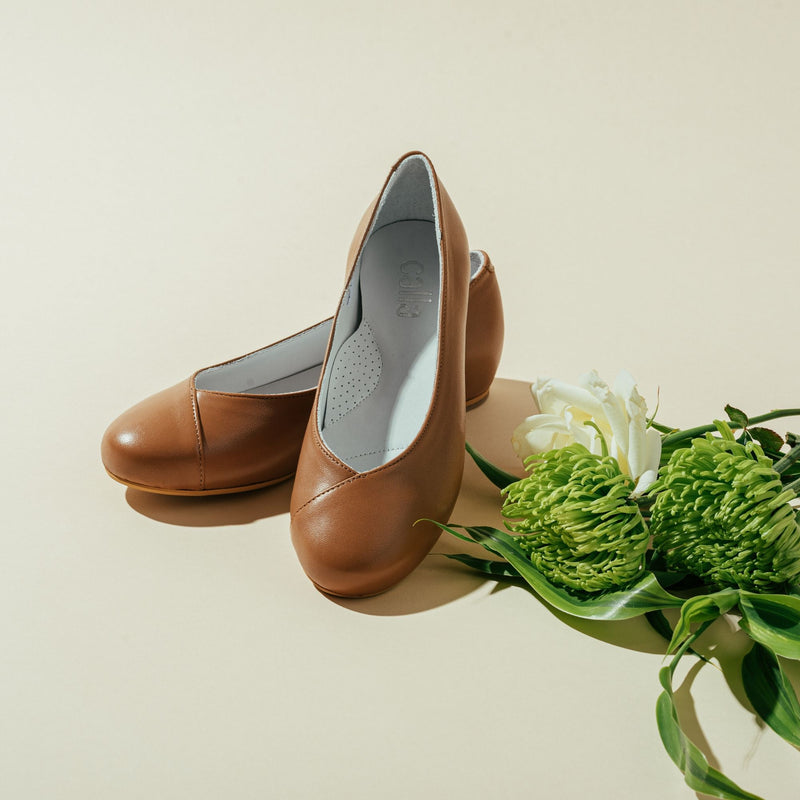 tan leather flats for bunions