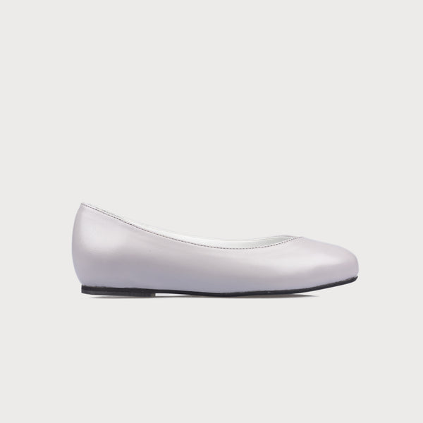 grey leather flat shoe side view